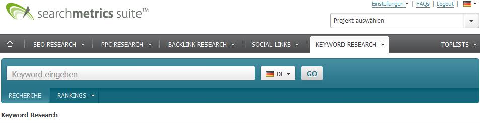 Keyword-Research Tool von Searchmetrics