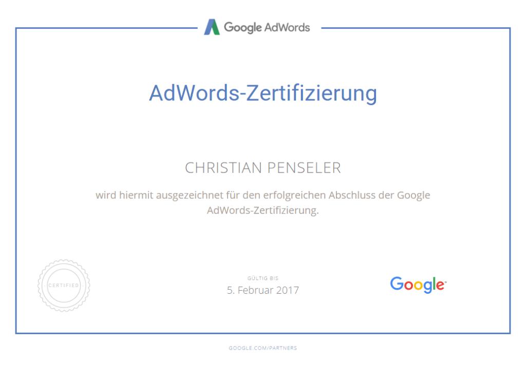 Beispiel AdWords-Zertifikat von einem unserer Mitarbeiter