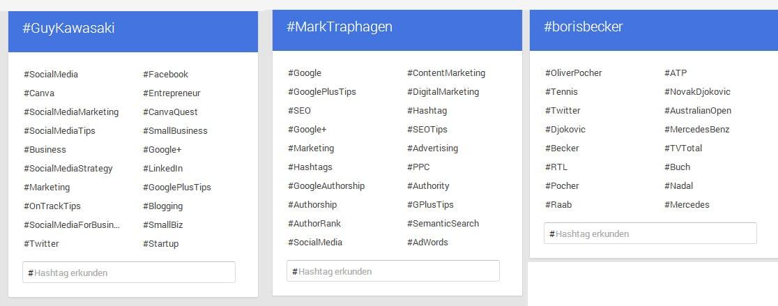 Googles Hashtags und Personenbezug