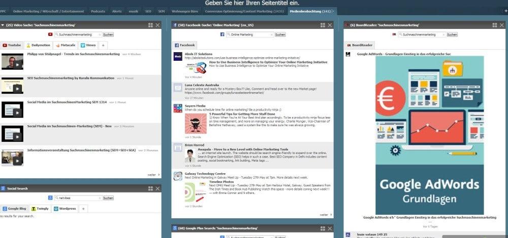 Beispiel Monitoring Dashboard mit Netvibes.