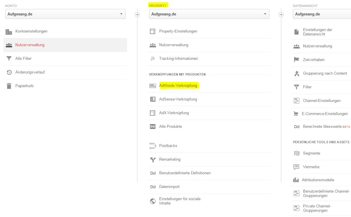 AdWords verknüpfen in Analytics
