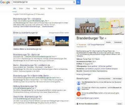 Google Entitäten Box Brandenburger Tor