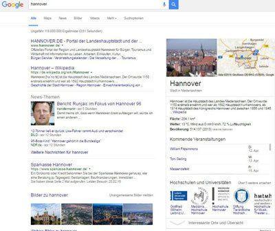 Google Entitäten-Box Hannover
