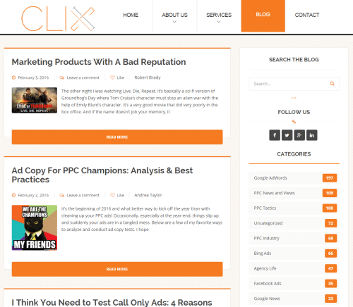 Screenshot Clix Marketing Blog