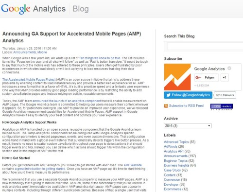Screenshot Google Analytics Blog