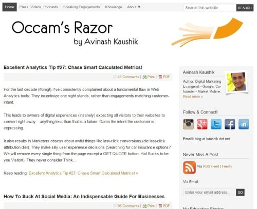 Screenshot Occam's Razor Blog