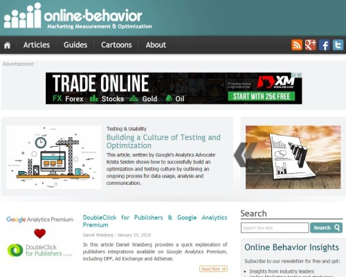 Screenshot Online Behavior Blog