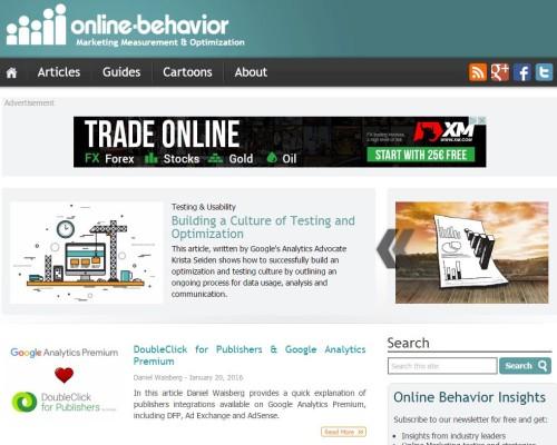 Screenshot Online Behavior Blog