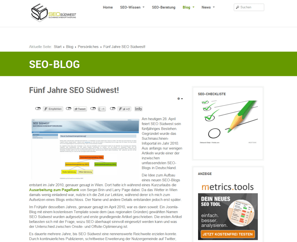 Screenshot SEO-Blog
