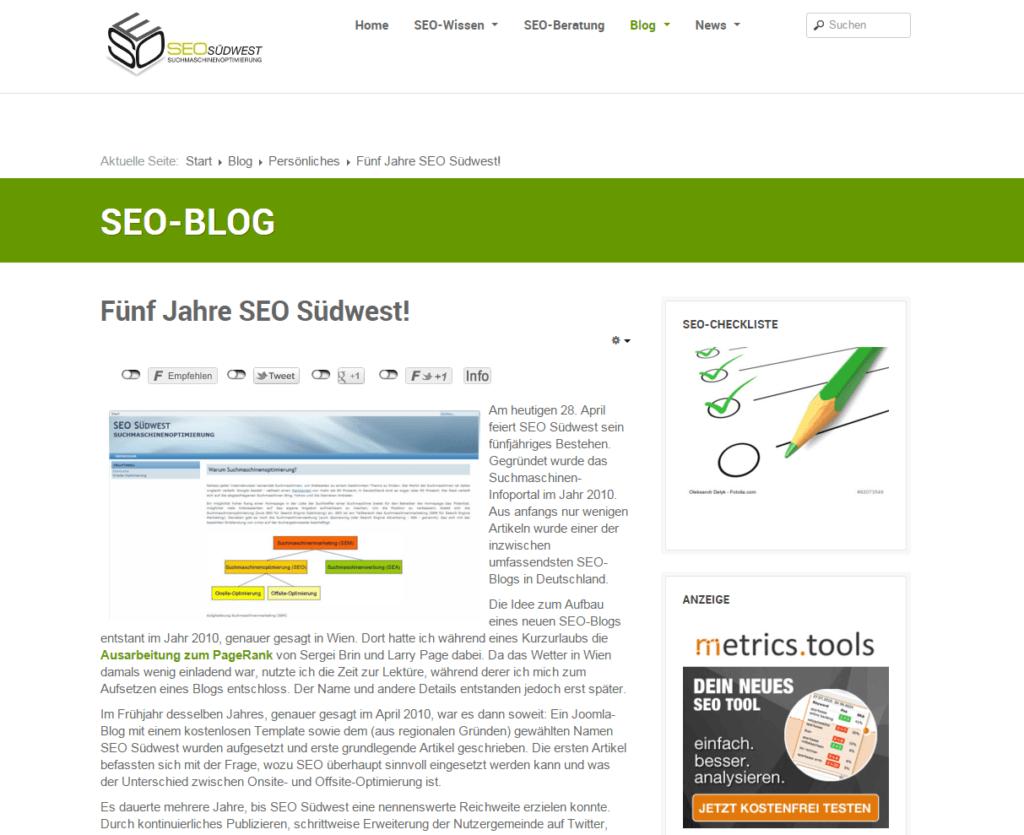 Screenshot SEO-Blog