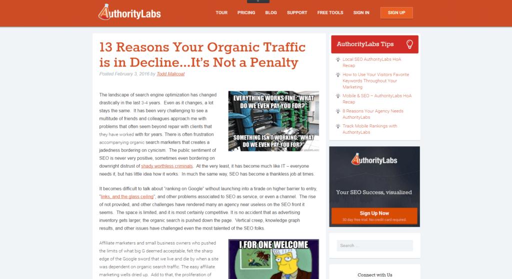 Screenshot AuthorityLabs Blog