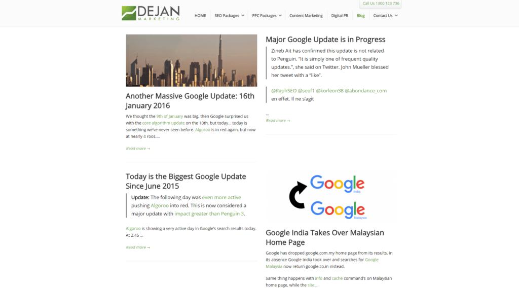 Screenshot DEJAN Marketing Blog