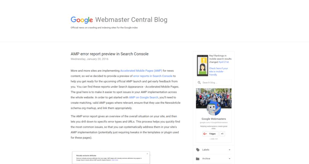 Screenshot Google Webmaster Central Blog