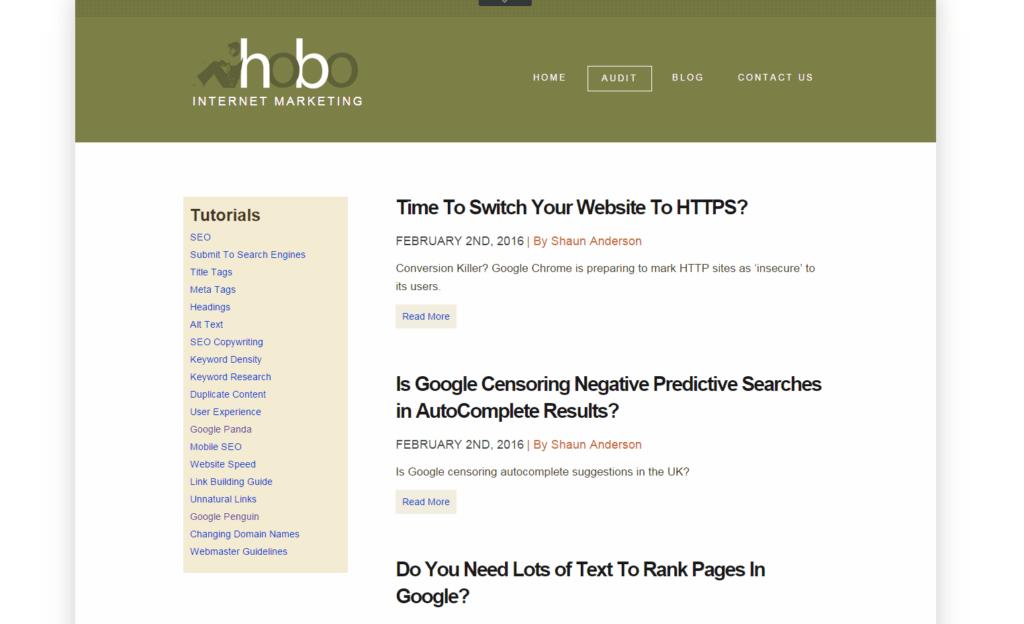 Screenshot hobo Internet Marketing
