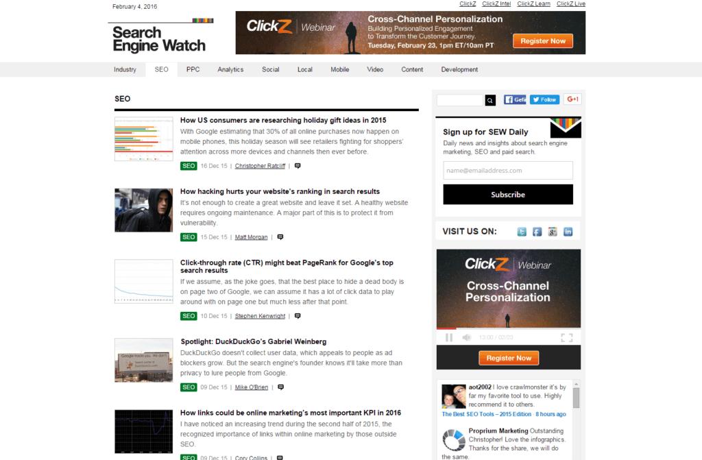 Screenshot Search Engine Watch Blog