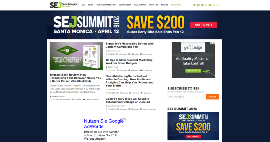 Screenshot SEJ Summit Blog
