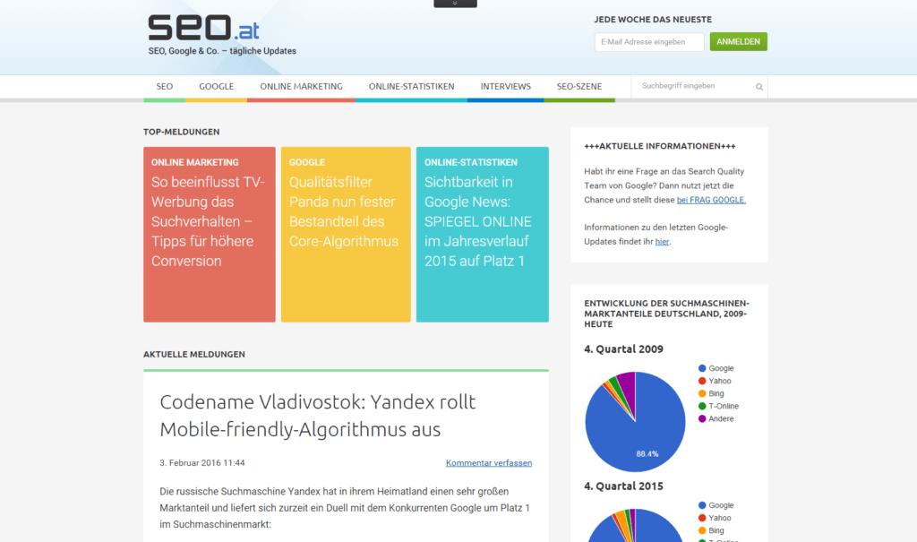 Screenshot SEO.at Blog