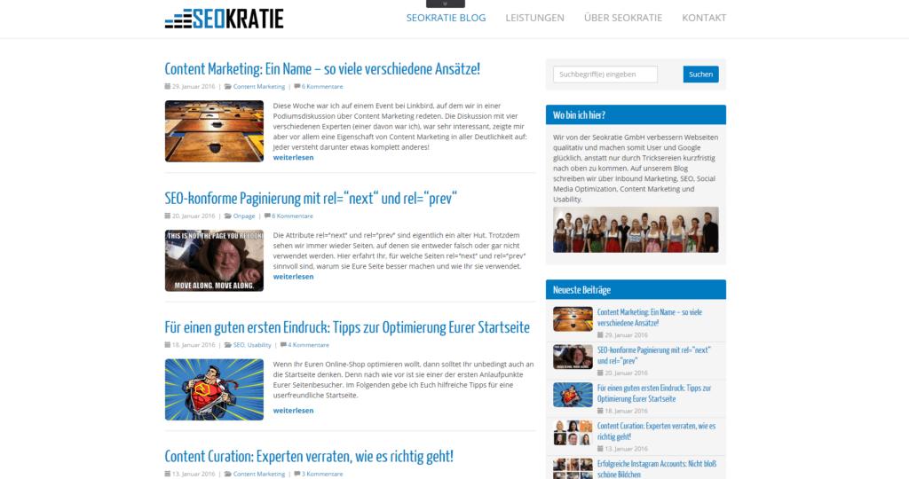 Screenshot SEOKRATIE Blog