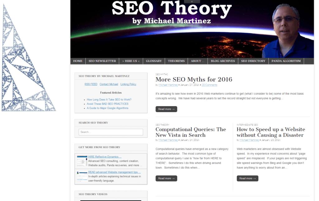 Screenshot Michael Martinez SEO Theory Blog