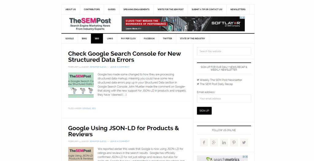 Screenshot The SEM Post Blog