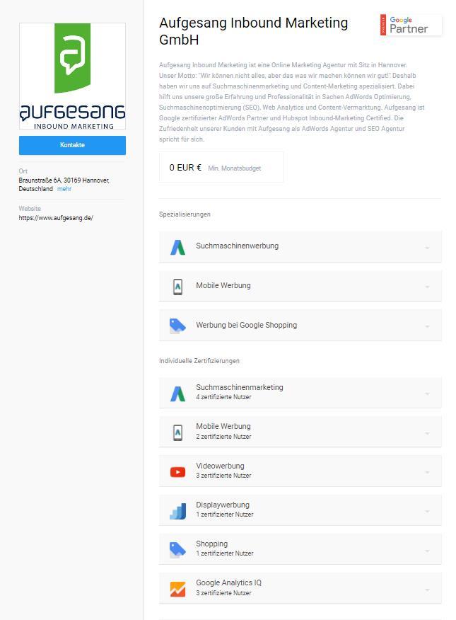 Aufgesang AdWords Partner Profil