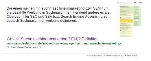 Wissens-Box am Beispiel des Themas Suchmaschinenmarketing