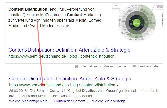 Beispiel für ein Featured Snippet aus dem ersten Suchergebnis